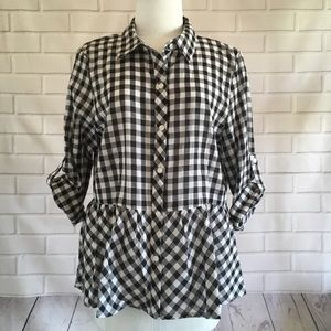 Love Notes Checkered Peplum Button Up Top Large